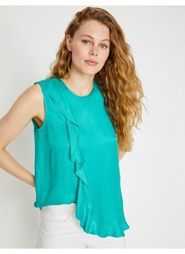 Koton Volanlı Kolsuz Bluz Yeşil